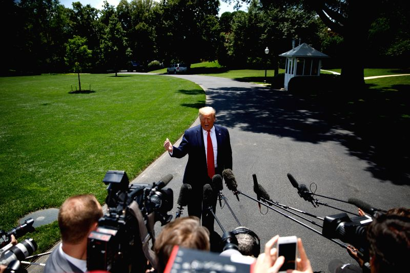 WASHINGTON, June 27, 2019 (Xinhua) -- U.S. President Donald Trump speaks to reporters before departing from the White House in Washington D.C., the United States, June 26, 2019. U.S. President Donald Trump said on Wednesday that he will not meet with