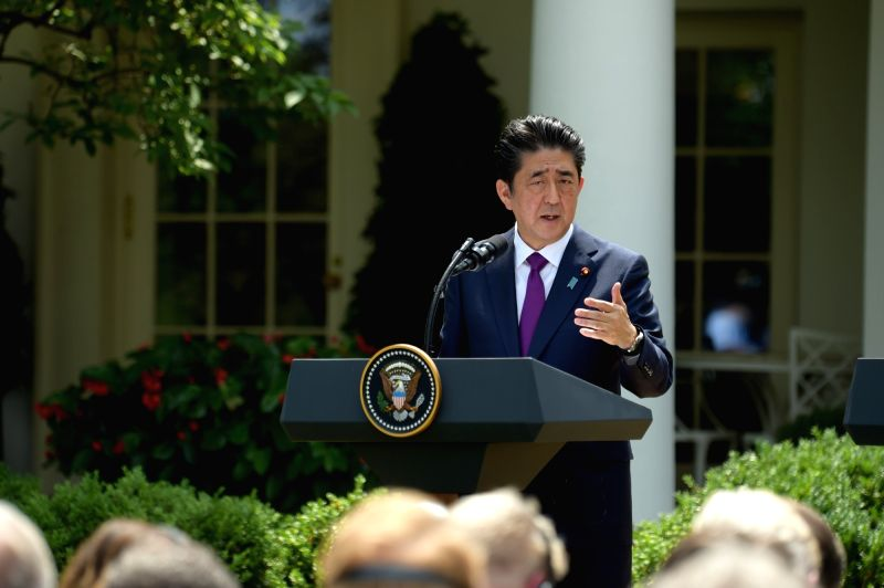 WASHINGTON, June 7, 2018 - Japanese Prime Minister Shinzo Abe speaks during a joint press briefing with U.S. President Donald Trump (not in the picture) at the White House in Washington D.C., the ... - Shinzo Abe