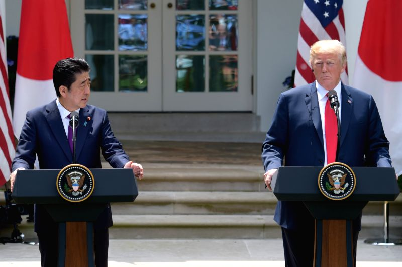 WASHINGTON, June 7, 2018 - U.S. President Donald Trump (R) and Japanese Prime Minister Shinzo Abe attend a joint press briefing at the White House in Washington D.C., the United States, on June 7, ... - Shinzo Abe