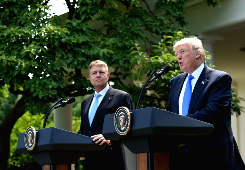 WASHINGTON, June 9, 2017 - U.S. President Donald Trump (R) and visiting Romanian President Klaus Iohannis attend a joint press conference at the White House in Washington D.C., the United States, on ...