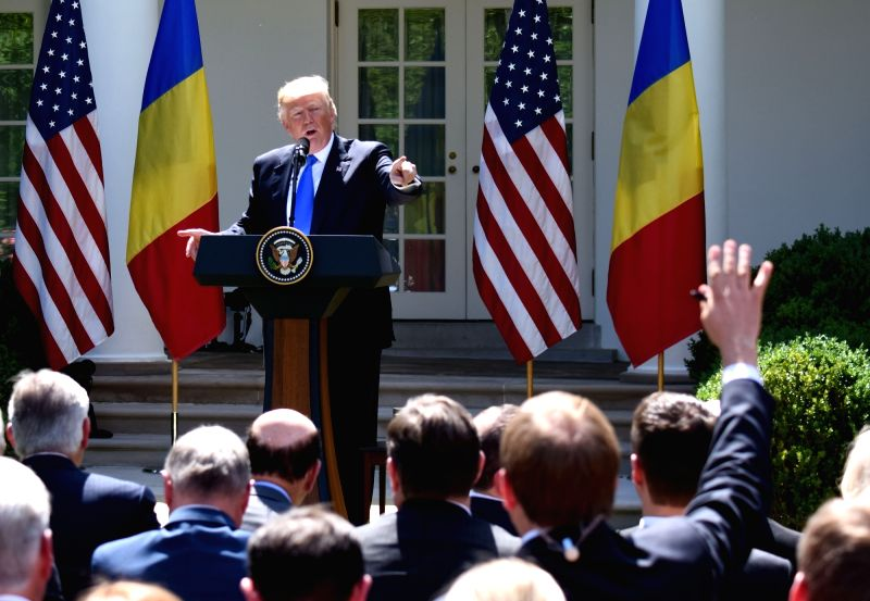 WASHINGTON, June 9, 2017 - U.S. President Donald Trump attends a joint press conference with visiting Romanian President Klaus Iohannis (not in the picture) at the White House in Washington D.C., the ...