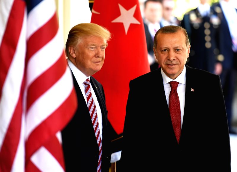 WASHINGTON, May 16, 2017 - U.S. President Donald Trump (L) welcomes Turkish President Recep Tayyip Erdogan at the White House in Washington D.C., the United States, on May 16, 2017. U.S. President ...