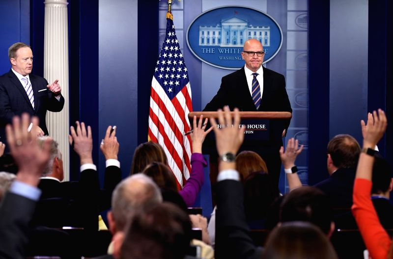 WASHINGTON, May 17, 2017 - U.S. National Security Advisor H.R. McMaster (R) and White House spokesman Sean Spicer field questions from reporters during a press briefing at the White House in ...