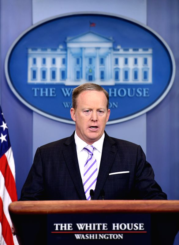 WASHINGTON, May 17, 2017 - U.S. White House spokesman Sean Spicer speaks during a press briefing at the White House in Washington D.C. May 16, 2017. (Xinhua/Yin Bogu)