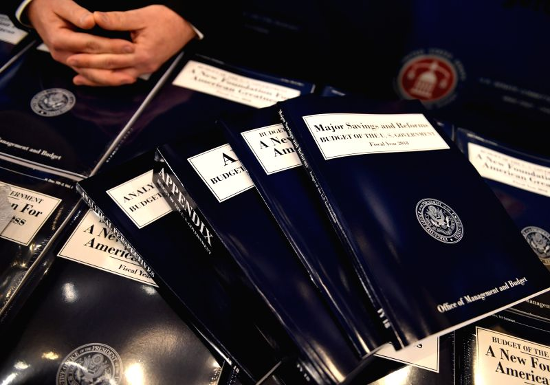WASHINGTON, May 23, 2017 - Copies of President Donald Trump's fiscal 2018 federal budget are seen on Capitol Hill in Washington D.C., May 23, 2017. The Trump administration on Tuesday unveiled its ...