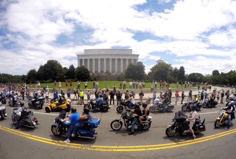 WASHINGTON, May 30, 2016 - U.S. veterans participate in the annual Rolling Thunder motorcycle ride to commemorate the Memorial Day in Washington D.C., capital of the United States, May 29, 2016. Tens ...