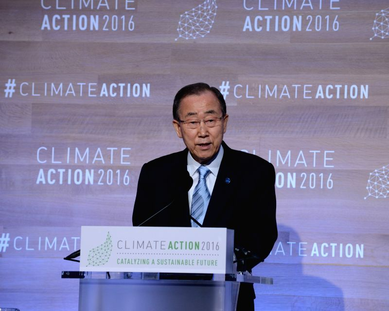 WASHINGTON, May 6, 2016 - UN Secretary-General Ban Ki-moon addresses the opening session of the Climate Action 2016 summit, a two-day meeting seeking to accelerate global action on climate change, in ...
