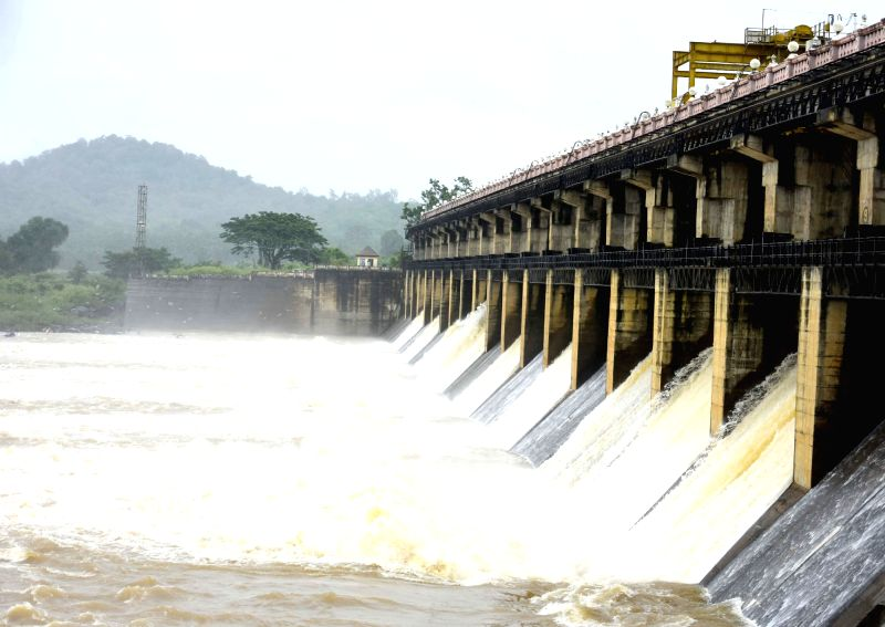 Water being released from Tunga dam near Shimoga in Karnataka on June 11, 2018.