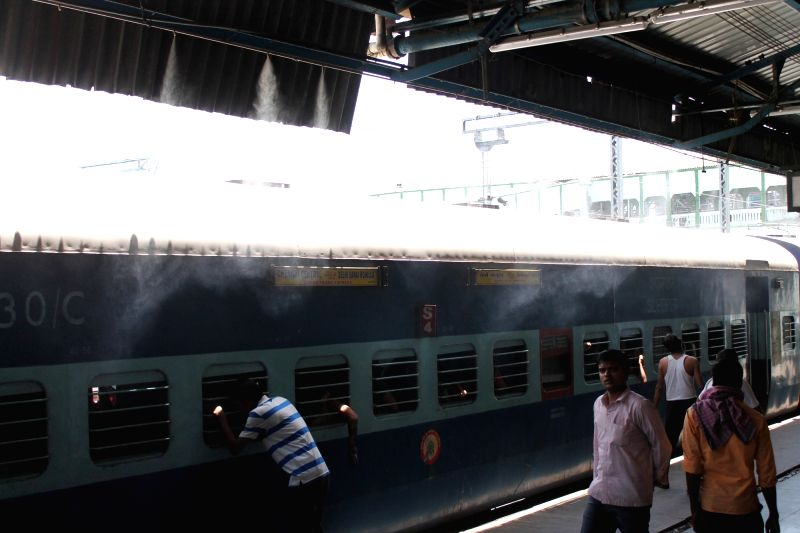 Water fountains installed for the convenience of passengers at the Nagpur railway station to beat the scorching heat on April 27, 2017.