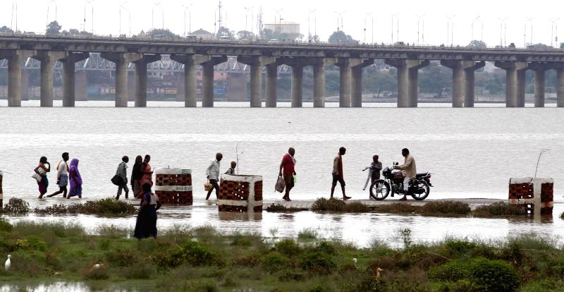 Water level recedes in the Ganga river in Allahabad on July 18, 2016.