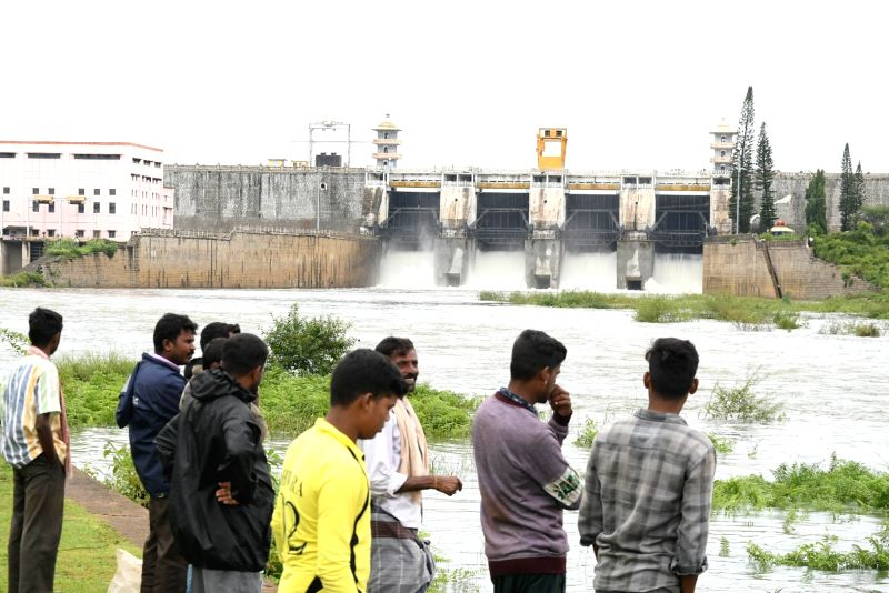 Water level rise in Krishnaraja Sagar (KRS) dam due to continuous rains in Mysuru on June 14, 2018.