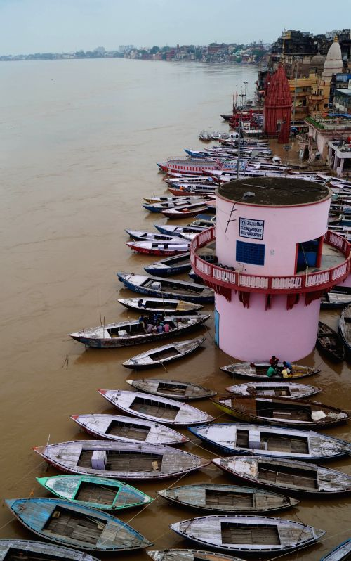 Water level rises in the Ganga river in Varanasi on August 1, 2015.