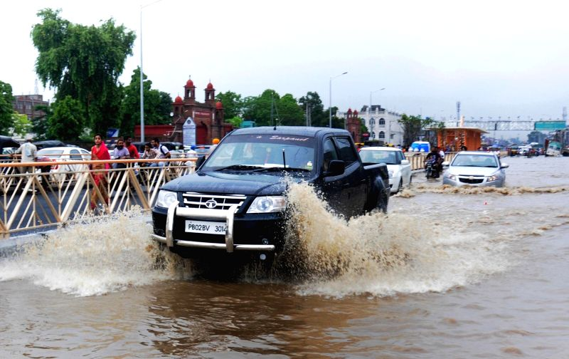 Water-logged roads of Amritsar on Aug 11, 2016.