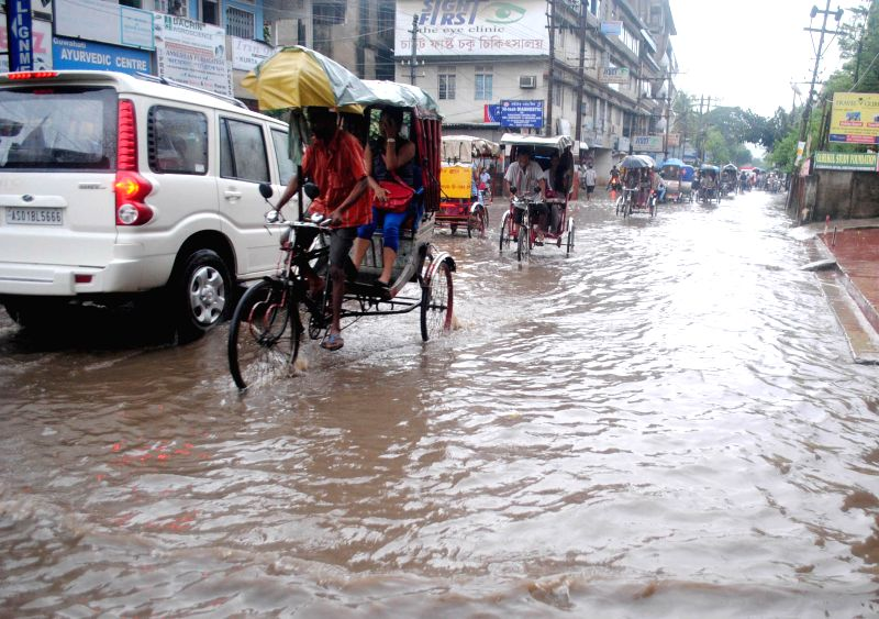 Water-logged streets of Guwahati during rains on Aug 20, 2014.