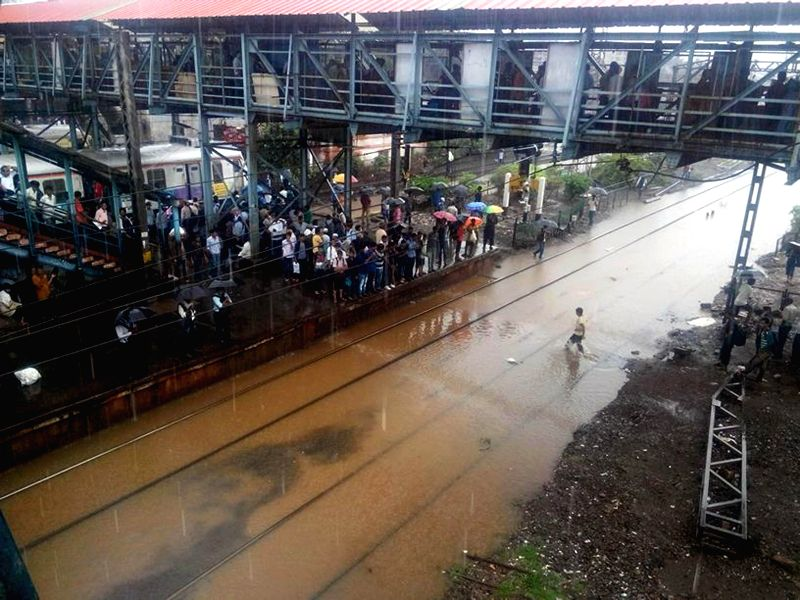 Waterlogged railway tracks in Mumbai after heavy rains on July 2, 2014.