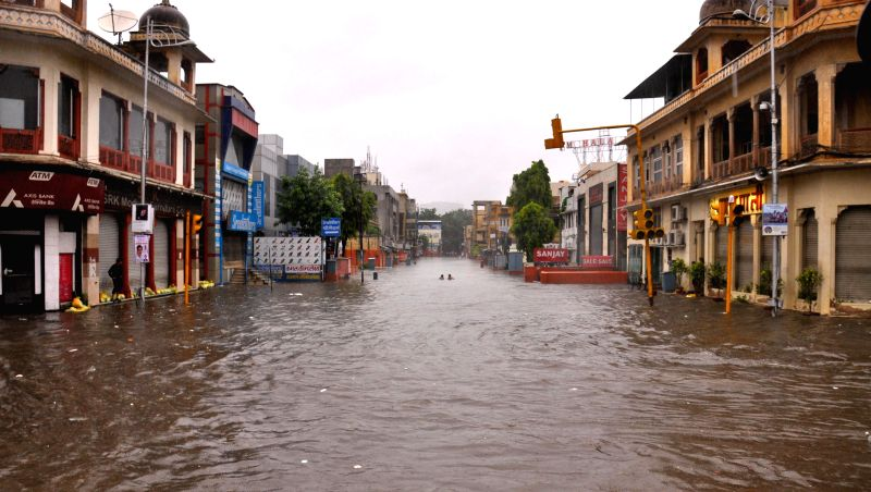 Waterlogged road after heavy rains in Jaipur on Aug. 9, 2014.
