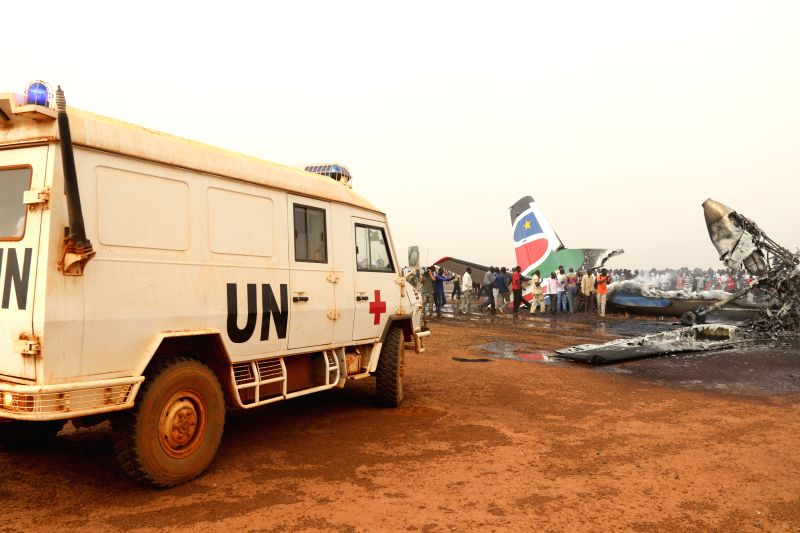WAU (SOUTH SUDAN), March 21, 2017 Ambulance of Chinese peacekeepers arrives at the site of a plane crash in Wau Airport, South Sudan, on March 20, 2017. All 43 passengers and six crew ...