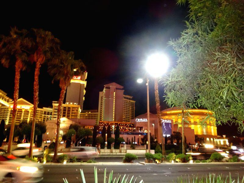 Well lit street of Las Vegas strip