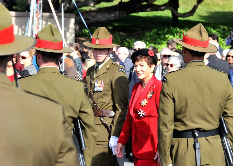 WELLINGTON, April 25, 2017 - New Zealand's Governor-General Patsy Reddy (2nd R) attends the ANZAC Day National Commemoration Service in Wellington, New Zealand, on April 25, 2017. ANZAC serving as an ... - Governor-General Patsy Reddy