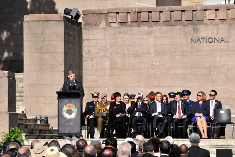 WELLINGTON, April 25, 2017 - New Zealand's Prime Minister Bill English (1st L) attends the ANZAC Day National Commemoration Service in Wellington, New Zealand, on April 25, 2017. ANZAC serving as an ... - Bill English