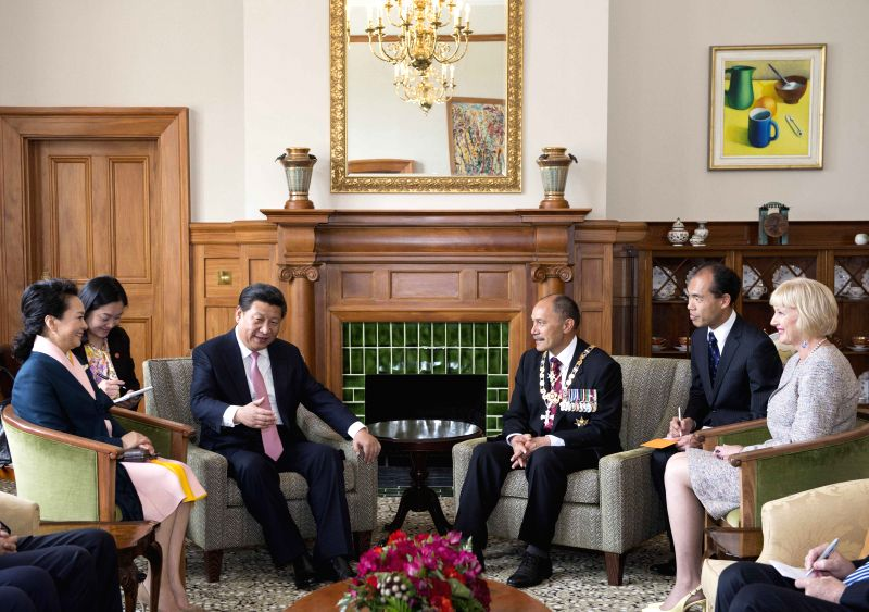 Chinese President Xi Jinping (3rd L) meets with New Zealand Governor-General Jerry Mateparae (3rd R) in Wellington, New Zealand, Nov. 20, 2014.