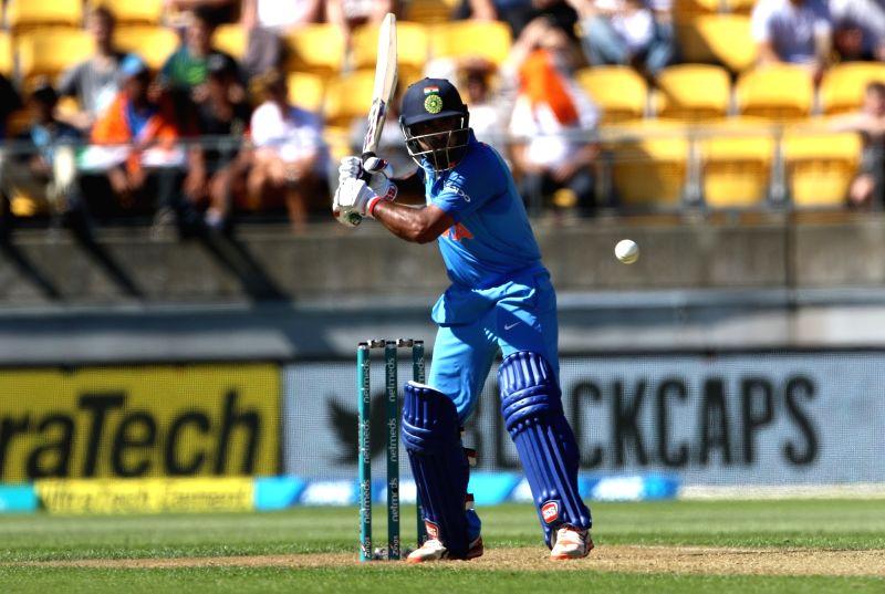 Wellington (New Zealand): Indian batsman Ambati Rayudu plays a shot during the fifth ODI between India and New Zealand at Westpac Stadium, Wellington on Feb. 3, 2019. (Photo: Surjeet Yadav/IANS)