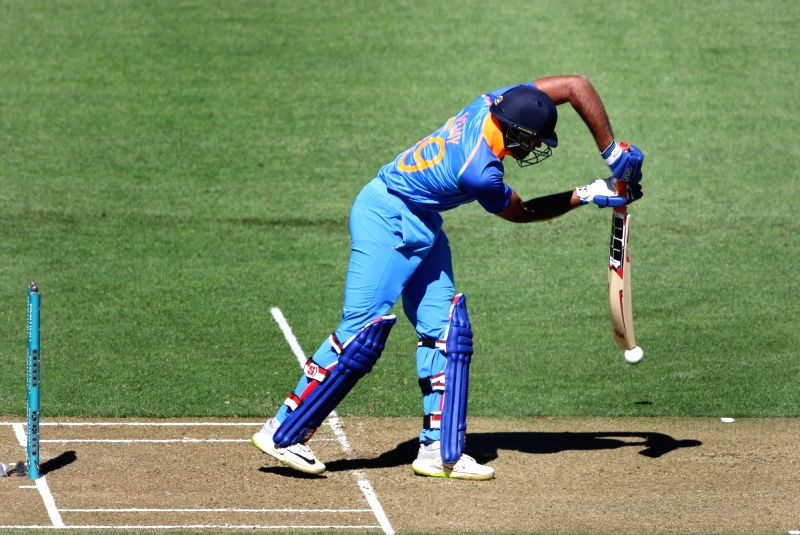 Wellington (New Zealand): Indian batsman Vijay Shankar plays a shot during the fifth ODI between India and New Zealand at Westpac Stadium, Wellington on Feb. 3, 2019. (Photo: Surjeet Yadav/IANS)
