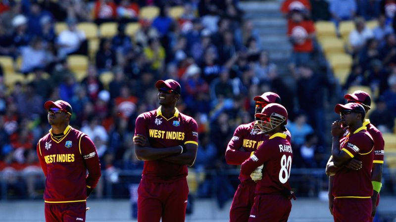 Wellington (New Zealand): West Indian players during the ICC World Cup - 2015 quarter-final match between New Zealand and West Indies at Westpac Stadium in Wellington, New Zealand on March 21, 2015.