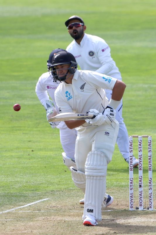 Wellington: West Indies Ross Taylor in action on Day 2 of the 1st Test match between India and New Zealand at the Basin Reserve cricket ground in Wellington, New Zealand on Feb 22, 2020. (Photo: Surjeet Yadav/IANS)