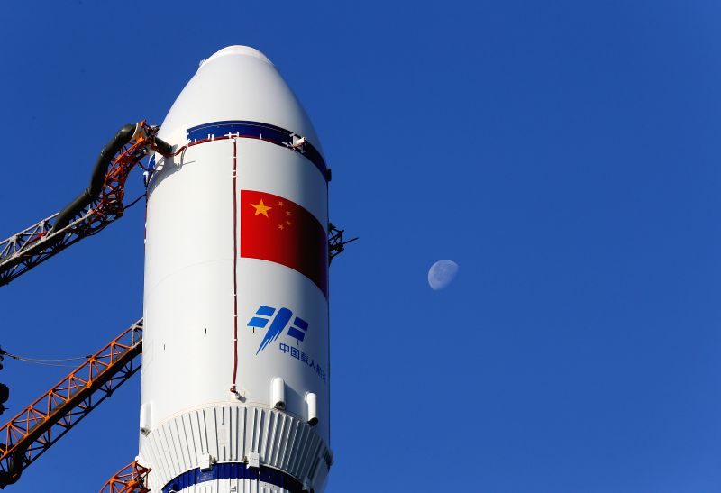 WENCHANG, April 17, 2017 - Photo taken on April 17, 2017 shows part of the cargo spacecraft Tianzhou-1 with a Long March-7 Y2 carrier rocket in Wenchang, south China's Hainan Province. China's first ...