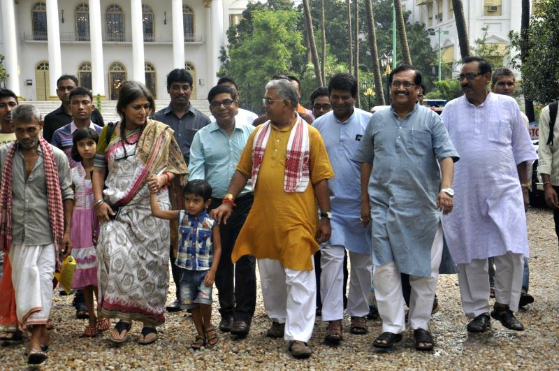 West Bengal BJP president Dilip Ghosh along with Roopa Ganguly comes out after meeting with West Bengal Governor Keshari Nath Tripathi at Raj Bhawan in Kolkata on June 7, 2017. - Dilip Ghosh and Keshari Nath Tripathi
