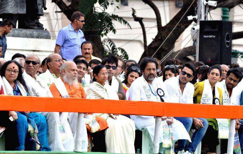 West Bengal Chief Minister and TMC supremo Mamata Banerjee during the Trinamool Congress (TMC) Shaheed Diwas rally in Kolkata on July 21, 2016. - Mamata Banerjee