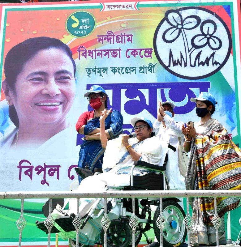 West Bengal Chief Minister and TMC supremo Mamata Banerjee during election campaign at Nandigram in West Bengal on March 30, 2021.  (Photo: /IANS)