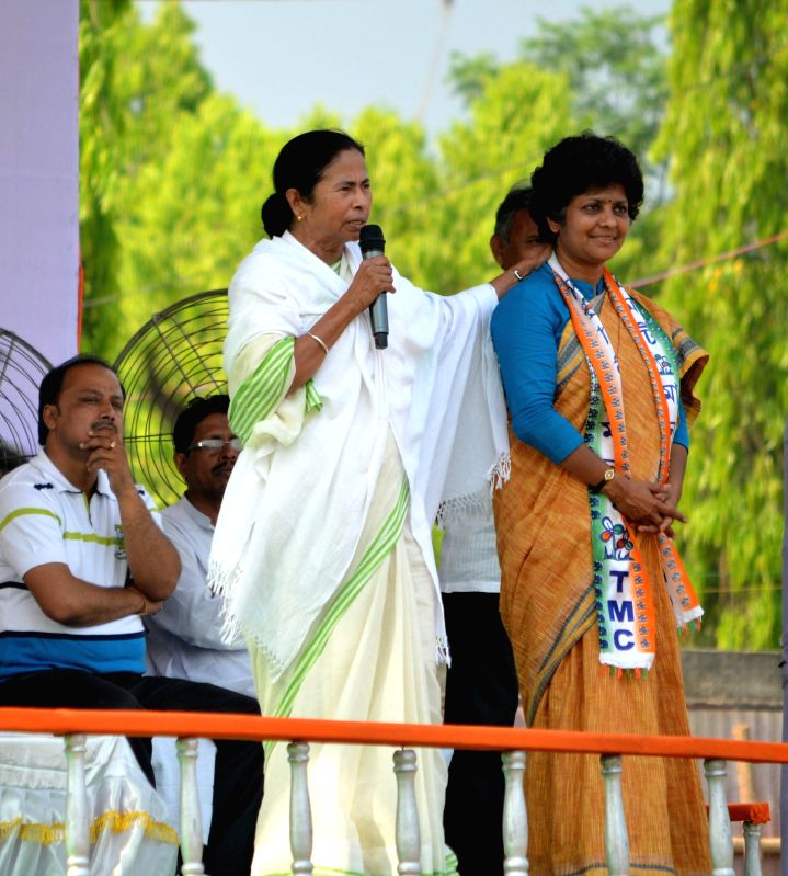 West Bengal Chief Minister and Trinamool Congress supremo Mamata Banerjee campaigns for party's candidate for 2014 Lok Sabha Election from Balurghat, Arpita Ghosh in Balurghat of West Bengal's South .