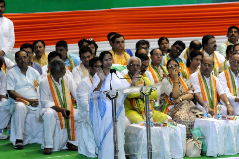 West Bengal Chief Minister and Trinamool Congress supremo Mamata Banerjee addresses during a party programme in Kolkata on April 21, 2017. Banerjee urged everyone to take the next two years ... - Mamata Banerjee