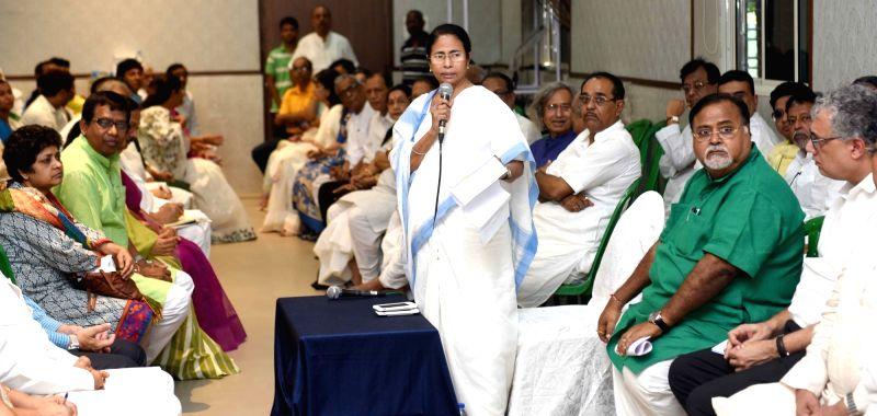 West Bengal Chief Minister and Trinamool Congress (TMC) chief Mamata Banerjee addresses during a party meeting in Kolkata on May 19, 2017. - Mamata Banerjee