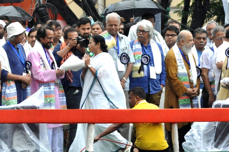 West Bengal Chief Minister and Trinamool Congress (TMC) chief Mamata Banerjee during her party's 25th Martyr's Day rally, in Kolkata on July 21, 2018. - Mamata Banerjee
