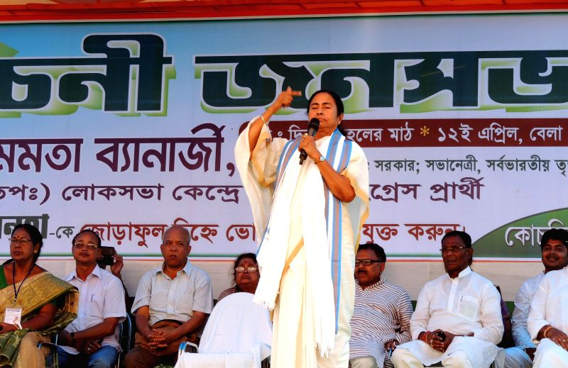 West Bengal Chief Minister Mamata Banarjee addressing during a public rally at Dinhuta in Cooch Behar, West Bengal.