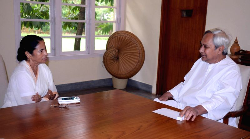 West Bengal Chief Minister Mamata Banarjee meets Odisha Chief Minister Naveen Patnaik in Bhubaneswar on April 20, 2017. - Mamata Banarjee
