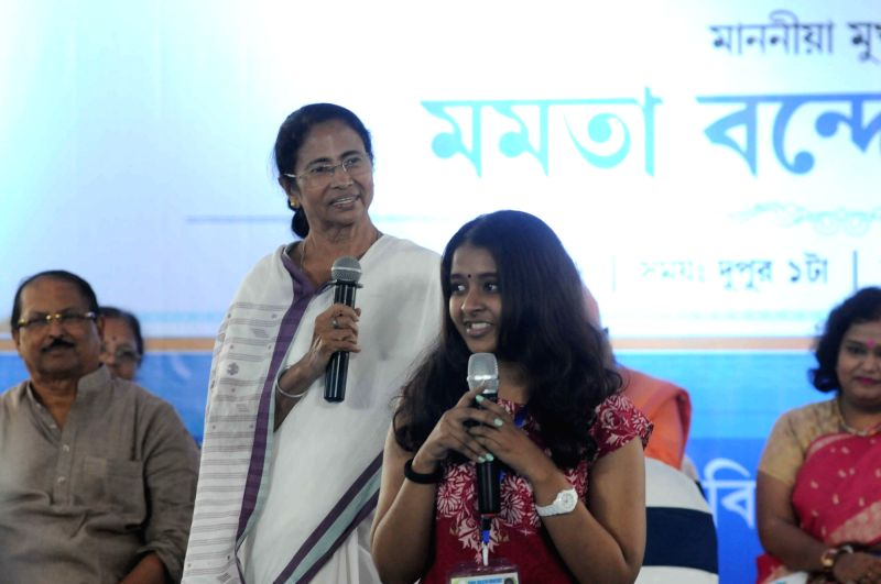 West Bengal Chief Minister Mamata Banerjee felicitates Secondary and Higher Secondary toppers in Kolkata, on June 13, 2017. - Mamata Banerjee