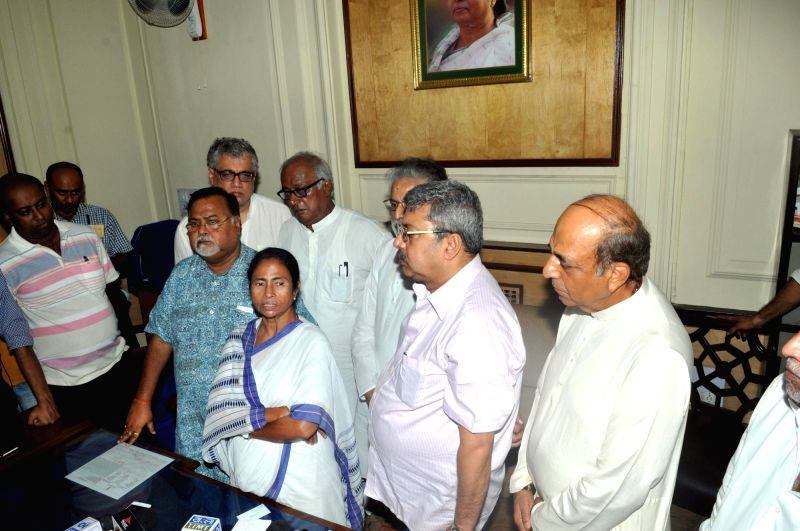 West Bengal Chief Minister Mamata Banerjee addresses a press conference after casting her vote during presidential polls at West Bengal Assembly in Kolkata on July 17, 2017. - Mamata Banerjee