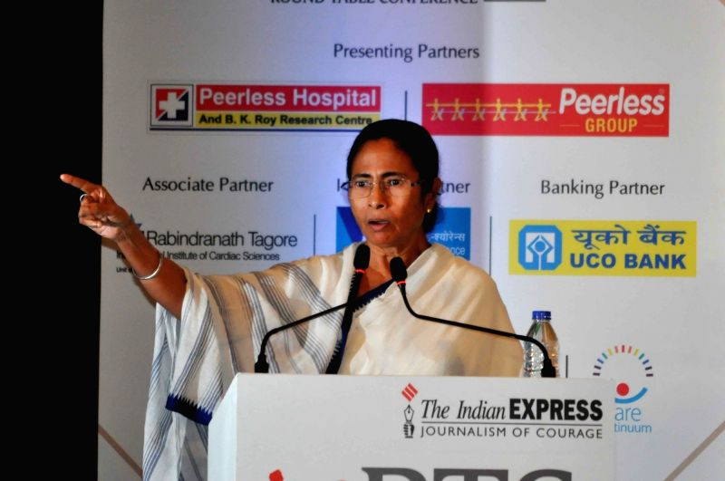 "West Bengal Chief Minister Mamata Banerjee addresses during a Round table conference on ""Healthy Living In Corporate Life"" in Kolkata on Sep 6, 2017. - Mamata Banerjee"