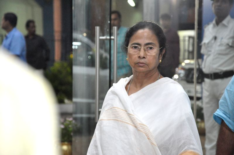 West Bengal Chief Minister Mamata Banerjee arrives to address press at Nabanna in Howrah on July 16, 2018. - Mamata Banerjee
