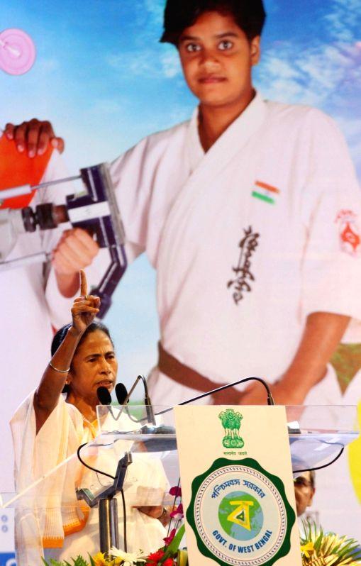 "West Bengal Chief Minister Mamata Banerjee addresses during the 5th anniversary celebrations of ""Kanyashree Diwas"", in Kolkata on Aug 14, 2018. - Mamata Banerjee"