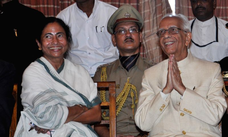 West Bengal Chief Minister Mamata Banerjee and New Governor of West Bengal Keshari Nath Tripathi during Governor's oath taking ceremony at Raj Bhawan in Kolkata on July 24, 2014. - Mamata Banerjee