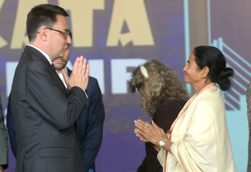 West Bengal Chief Minister Mamata Banerjee and France's Ambassador to India Alexandre Ziegler during the inauguration of 42nd International Kolkata Book Fair 2018 in Kolkata on Jan 30, 2018. - Mamata Banerjee