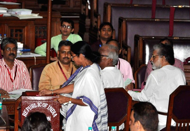 West Bengal Chief Minister Mamata Banerjee casts her vote during presidential polls at West Bengal Assembly in Kolkata on July 17, 2017. - Mamata Banerjee