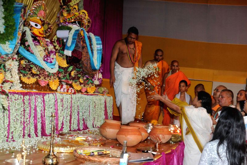 West Bengal Chief Minister Mamata Banerjee during her visit to ISKCON (International Society for Krishna Consciousness) temple on `rath yatra`in Kolkata on June 29, 2014.