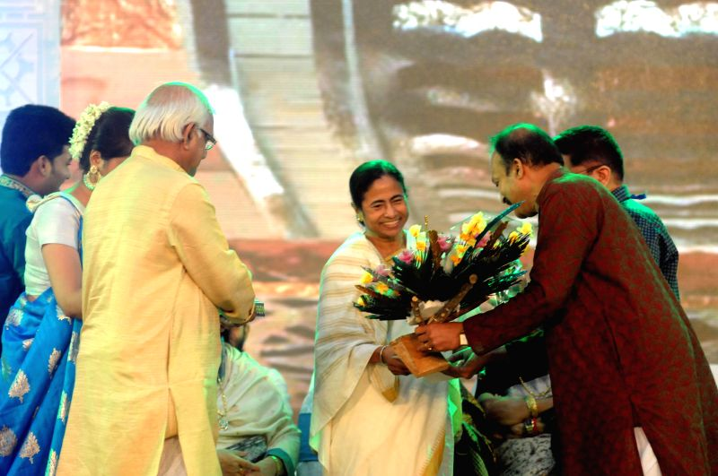 West Bengal Chief Minister Mamata Banerjee during `Sharad Samman - 2013` in Kolkata on July 3, 2014. - Mamata Banerjee