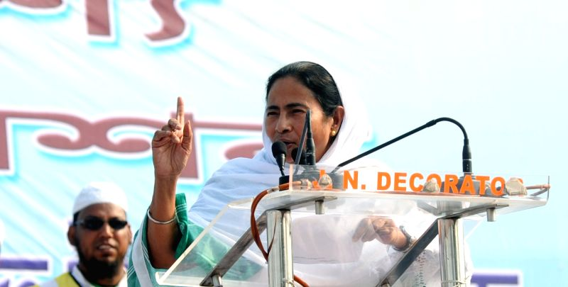 West Bengal Chief Minister Mamata Banerjee during a programme organised by Jamiat Ulama in Kolkata, on Nov 26, 2015. - Mamata Banerjee